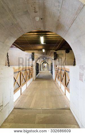 Strasbourg, Bas-rhin / France - 10 August 2019: Interior View Of The Historic Barrage De Vauban Dam