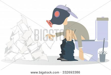Man With Diarrhea (food Poisoning) Sitting In The Toilet Illustration. Man In The Gas Mask Sitting I