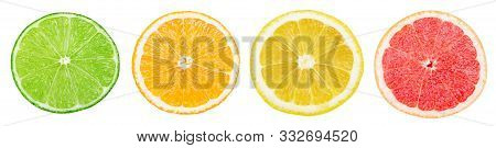 Isolated Citrus Slices. Fresh Fruits Cut In Half (lime, Orange, Lemon, Grapefruit) In A Row Isolated
