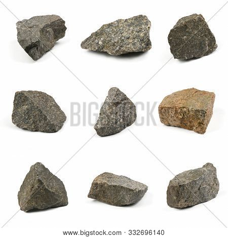 Nine Grungy  Granite Stone, Marble Rock Isolated On White Background. High Resolution Photo. Full De
