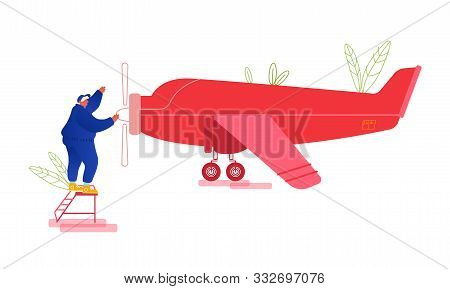 Repair And Maintenance Of Aircraft Concept. Engineer Stand On Ladder Inspecting Engine And Wings Of