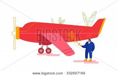 Engineer Inspecting Airplane Fuselage Lighting On Plane Body With Flashlight Searching Damages Befor