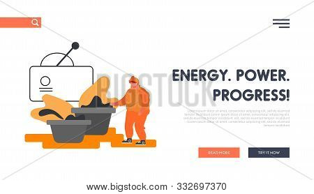 Metal Production Plant Website Landing Page. Metallurgy Industry Laborer Inspecting Raw Ore Material