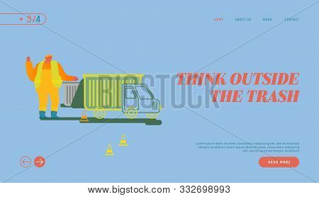 City Cleaning Service Website Landing Page. Scavenger in Uniform Collecting Litter to Truck Garbage. Man Collect Rubbish and Waste for Recycling Web Page Banner. Cartoon Flat Vector Illustration poster