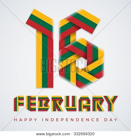 Congratulatory Design For February 16, Lithuania Independence Day. Text Made Of Bended Ribbons With