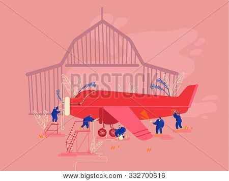Aircraft Maintenance And Repair Concept. Group Of Mechanics Engineers Inspecting Private Airplane Wi