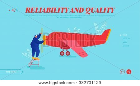 Repair And Maintenance Of Aircraft Website Landing Page. Engineer Inspecting Airplane Engine Rolling