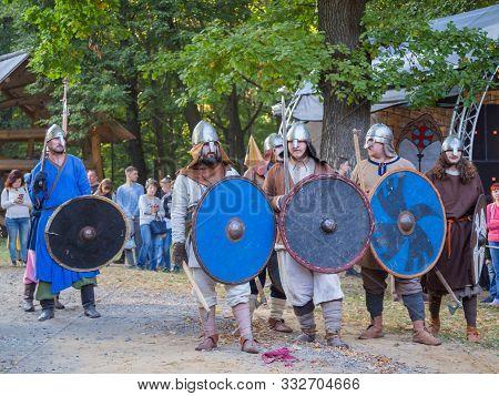 Nizhniy Novgorod, Russia - June 2018: Volga Shtandart Historic Festival. Group Of Militant Medieval