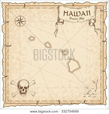 Hawaii Pirate Map. Ancient Style Map Template. Old Us State Borders. Vector Illustration.
