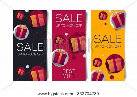Gift Voucher Template Set Of Flyers With Monetary Value And Present Boxes, Discount Advertising