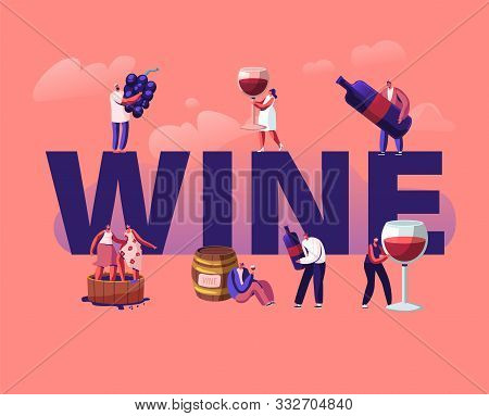 Wine Producing And Drinking Concept. Male And Female Characters With Bottle And Glass Grow Organic G