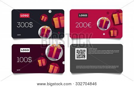 Gift Voucher Template Set Of Cards With Monetary Value And Present Boxes, Discount Advertising