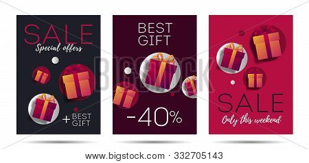 Advertising Poster Template Set With Monetary Value And Gift Boxes, Discounts And Presents Marketing