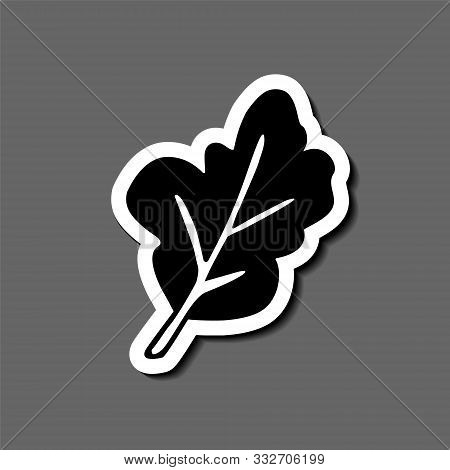 Herbal Leaf Sticker. Arugula, Mint, Spinach Etc. Hand-drawn In Cartoon Style, Black Artwork  In Tatt