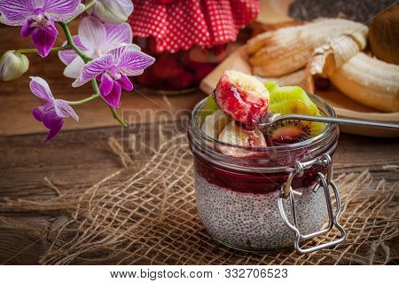Chia Seed Pudding With Fruit. Selective Focus.