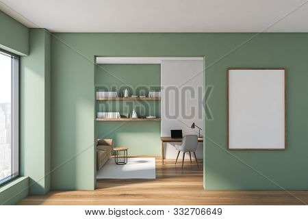 Green Living Room And Home Office With Poster