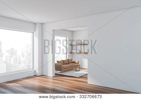 White Living Room Corner With Sofa