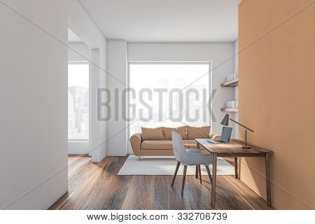 Beige And White Living Room Interior
