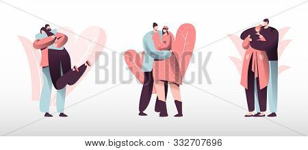 Loving Couples Set. Young Heterosexual People In Love Spend Time Together, Man And Woman Walking Out
