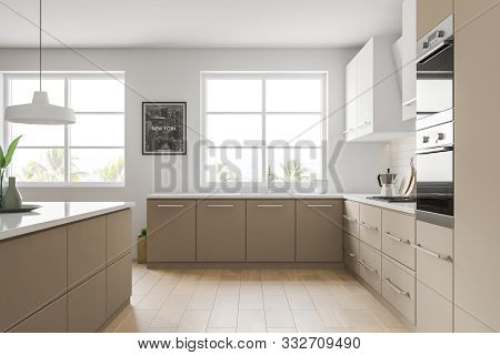 Side View Of White And Beige Kitchen With Picture