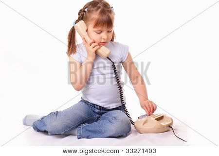 Little Girl Talking On The Old Phone