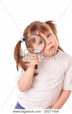 Little Girl With A Big Magnifying Glass