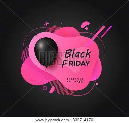 Black Friday Sale Up To 70 Percent Vector, Flat Style Banner With Abstract Design And Balloon With T