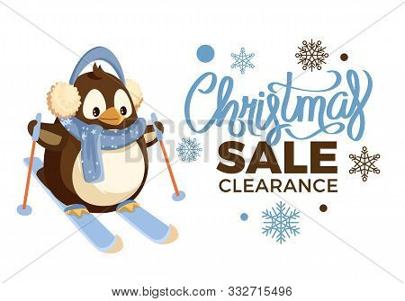 Christmas Sale Clearance Penguin On Skis, Outdoor Activity. Holiday Offer And Discount With Pattern