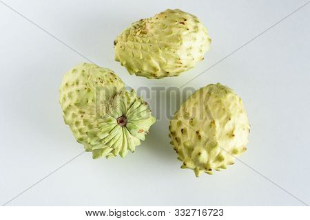 Annona, Custard Apple, Cherimoya, Sugar Apple On White Table Background.annona Muricata And Other Pl