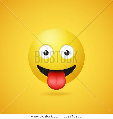 Happy Smiling Emoticon With Stuck Out Tongue On Yellow Gradient Background. Vector Funny Yellow Cart