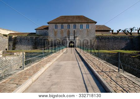 View Of The Gate To The Old Citadel Of Besancon, France From The Bridge Over The Moat. There Are For