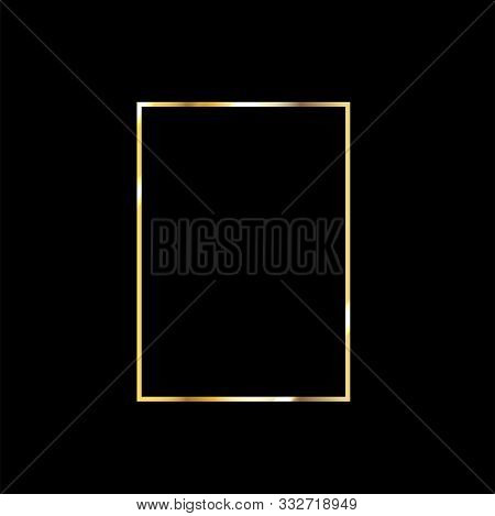 Rich Gold Christmas Or Wedding Frame. Golden Invitation Border. Gradient Copper Metal Foil. Wedding,
