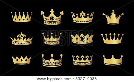 Gold Crown Silhouette Icon Set. Collections Of Golden Crowns. Queen Tiara. King Diamond Coronation C