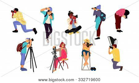Photographers. Cartoon Characters With Professional Cameras In Different Poses Taking Pictures. Vect