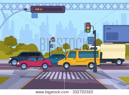 City Street. Cartoon Town Cityscape With Cars And Crosswalk, Town Traffic On Crosswalk. Vector Urban