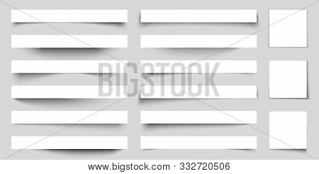 Realistic Paper Shadow Effects. Web Banners Shadows With Corners. Poster Flyer Set. Vector Sticker W