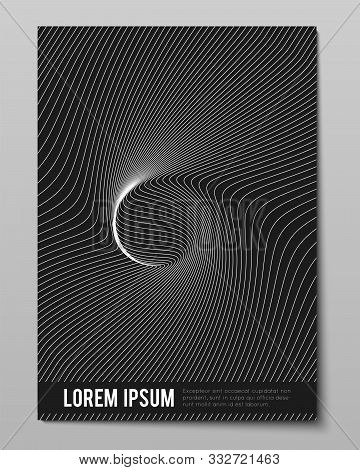 Cover With Striped Black White Warped Into One Point Lines. Optical Illusion Effect, Op Art. Vector