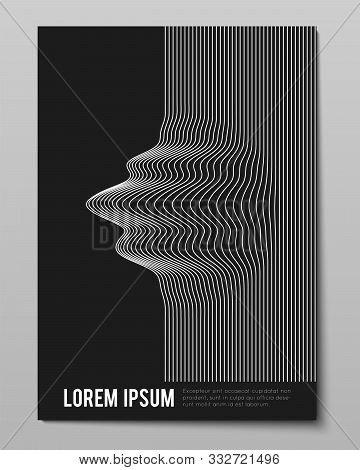 Cover With Striped Black White Warped Lines. Optical Illusion Effect, Op Art. Vector Decorative Cove