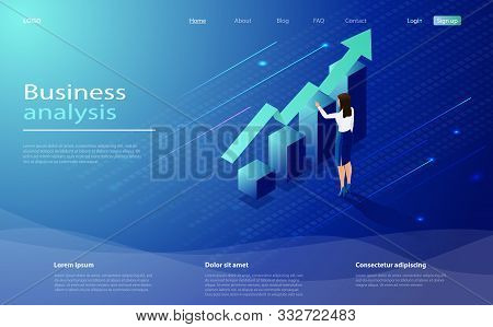 Business Analysis Concept Banner With Characters. Isometric Concept Business Analysis For Website An