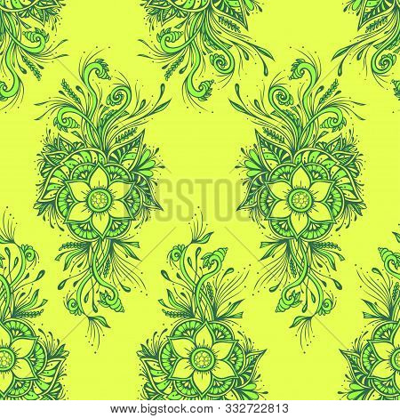 Seamless Pattern Or Texture With Decorative Flowers In Light Green Olive For Wallpaper Or Textile Or