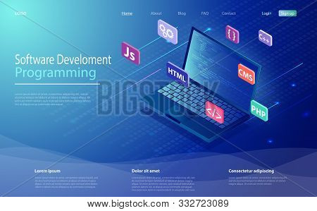 Programming, Software, Web Development Concept Isometric Icon, Laptop With Program Code On Screen. P