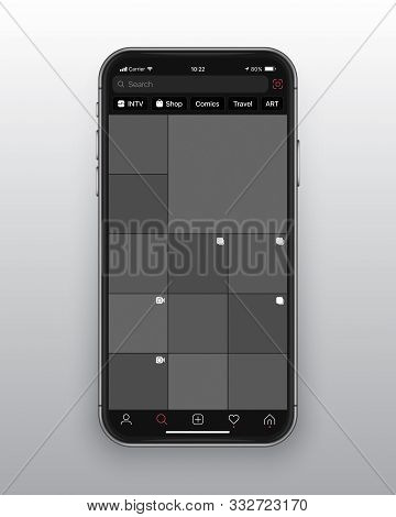 Photo Sharing Mobile App Instagram Dark Mode UI and UX Alternative Trendy Concept Vector Mockup on Frameless Smart Phone Screen Iphone 11 Isolated on Light Background. Social Network Design Template