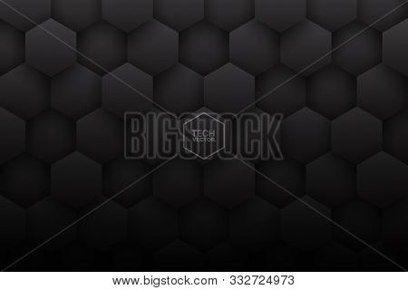 Dark 3d Vector Hexagons Abstract Background. Science Technology Three Dimensional Hexagonal Blocks S