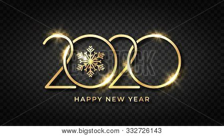 Happy New 2020 Year. Shiny Gold Text And Snowflake With Stylized 2020 Number. Happy New Year Text De