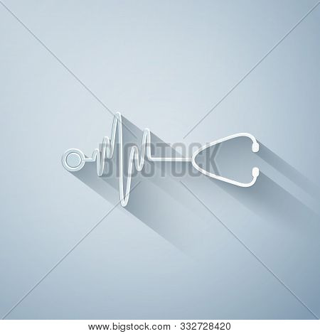 Paper Cut Stethoscope With A Heart Beat Icon Isolated On Grey Background. Medical Concept. Pulse Car