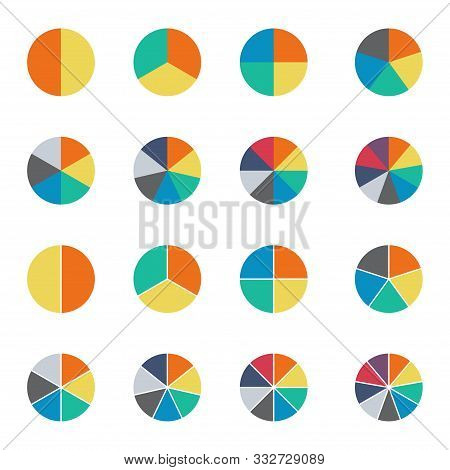 Infographic Pie Chart Set. Cycle Collection - 2, 3, 4, 5, 6, 7 And 8 Section. Vector Isolated On Whi