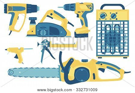 Collection Of Tools For Construction And Repair: Fan Heater, Hot Air Blower, Electric Planer, Power