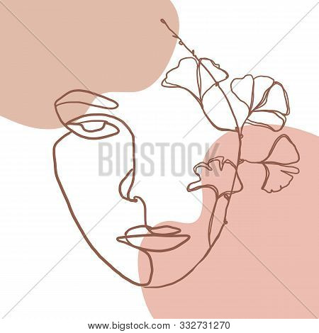 Continuous Line, Drawing Of Woman Face, Fashion Concept, Woman Beauty Minimalist With Geometric Dood