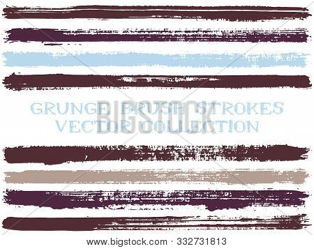 Long Ink Brush Strokes Isolated Design Elements. Set Of Paint Lines. Artistic Stripes, Textured Pain