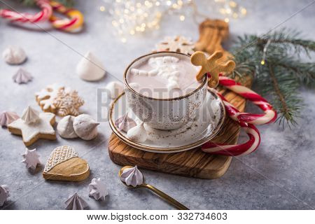 Christmas Holiday Cacao. Hot Chocolate Cacao Drinks With Marshmallows In Christmas Mugs On Grey Back